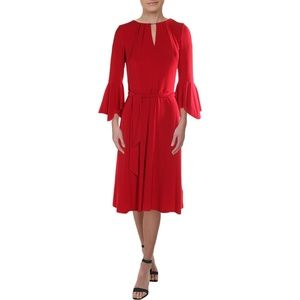 BELL SLEEVES KEYHOLE NECK PARTY DRESS